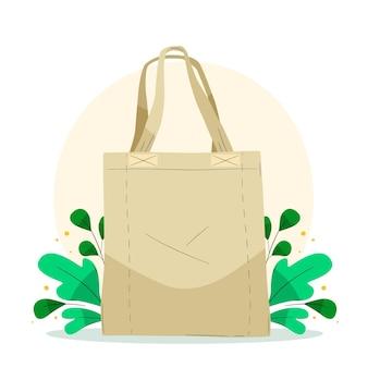 葉で描かれたファブリックバッグ