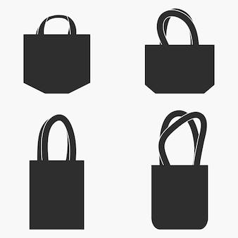 Комплект тканевой сумки. монохромный макет. векторная иллюстрация.