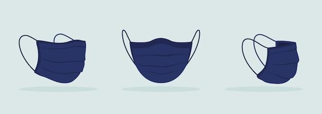 주름이 있는 검은색 모형이 있는 탄성 밴드가 있는 패브릭 안면 마스크