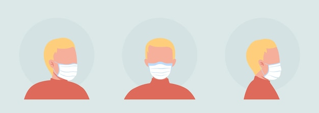 Fabric mask wearer semi flat color vector character avatar set