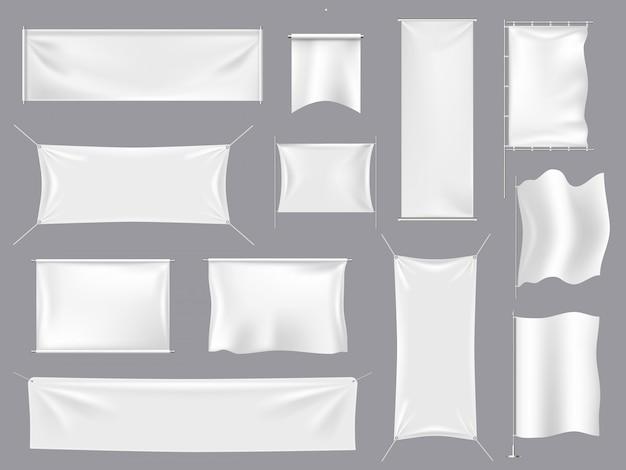 ファブリックのリアルな旗s。白い繊維のバナーとキャンバスの看板、空の空白フラグテンプレートイラストセット。白い旗の空、現実的な空白のフラグ