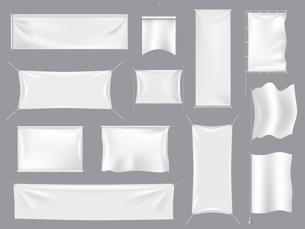 Fabric realistic flag s. white textile banners and  canvas signboard, empty blank flags template   illustration set. white banner empty, realistic blank flag