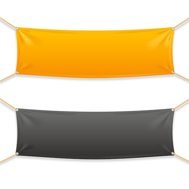 Fabric rectangular horizontal banner with ropes. ready template for your text.