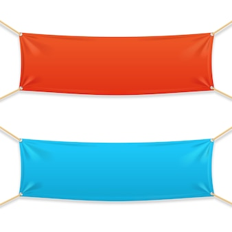 Fabric rectangular horizontal banner with ropes.