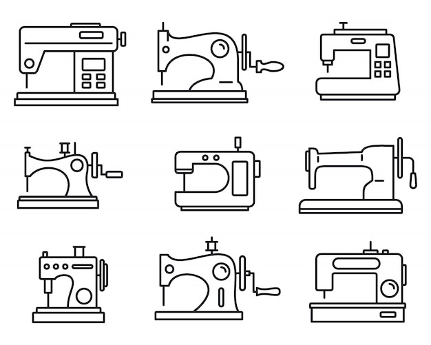 Fabric sew machine icon set