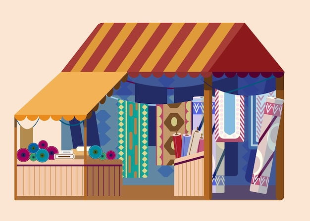 Уличный магазин тканей с большим количеством ковров