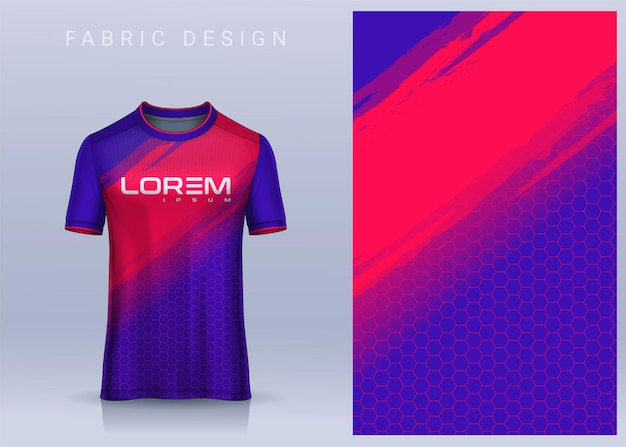 Fabric textile design for sport tshirt soccer jersey for football club uniform front view Premium Vector