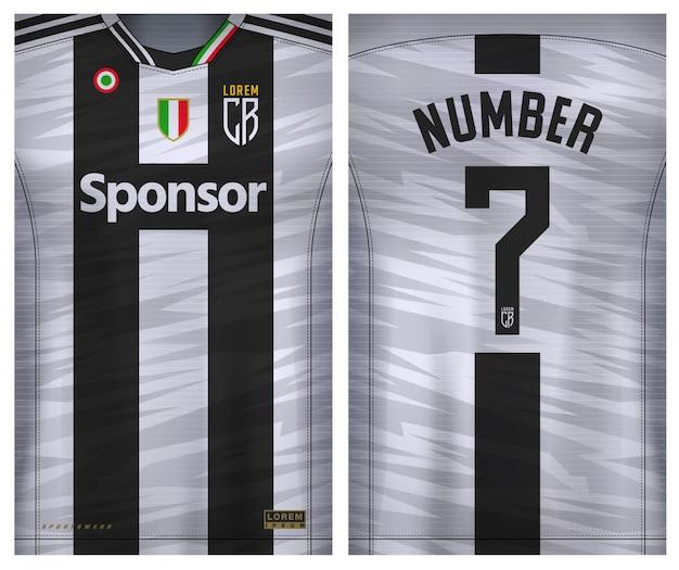 スポーツtシャツ、サッカークラブのサッカージャージーの生地の織物。均一な正面と背面。