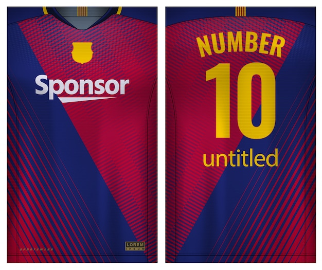 Fabric textile for sport t-shirt ,soccer jersey   for football club. uniform front and back view.