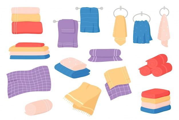 Fabric towels set. cloth towel for bath, hygiene. bathroom textile cartoon.