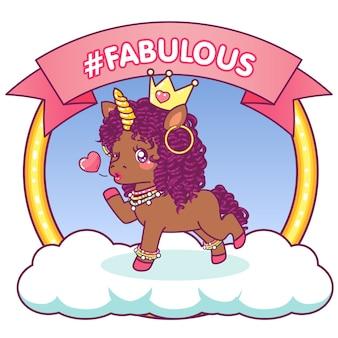 Fabulous afro unicorn that winks sending a kiss