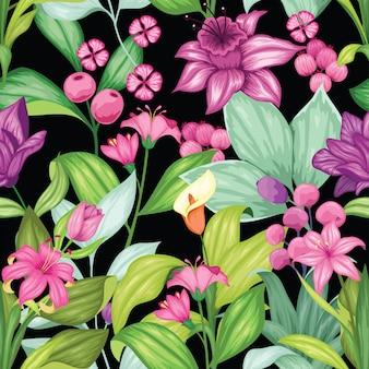 素晴らしいカラフルな花柄シームレス