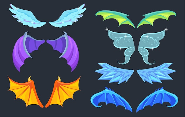 Fabulous creatures wings set. dragon, monster, angel, butterfly wings isolated in black