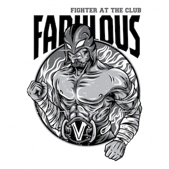 Fabulous fighter black and white illustration