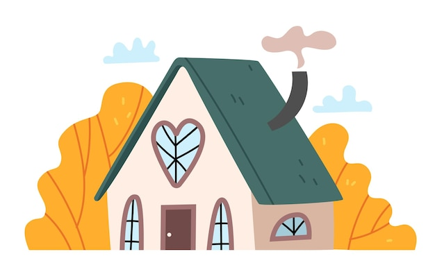 Fabulous house in the autumn forest Premium Vector