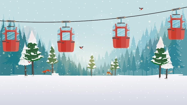 Сказочный заснеженный лес. канатная дорога с прицепами в зимнем лесу. мультяшный стиль. векторная иллюстрация.