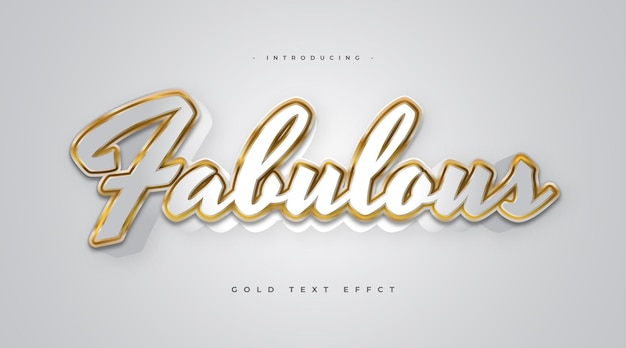Fabulous text in white and gold style with 3d effect