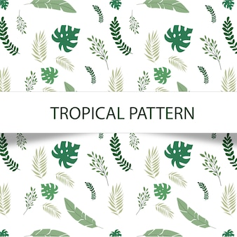 Fabulous tropical pattern with green plants on white background