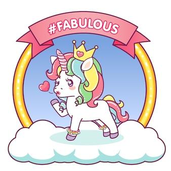 Fabulous unicorn that winks sending a kiss