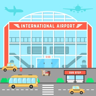 Facade airport with bus stop