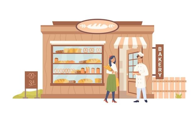 Facade of bakery shop seller buyer building facade exterior people shopper and baker vendor vector