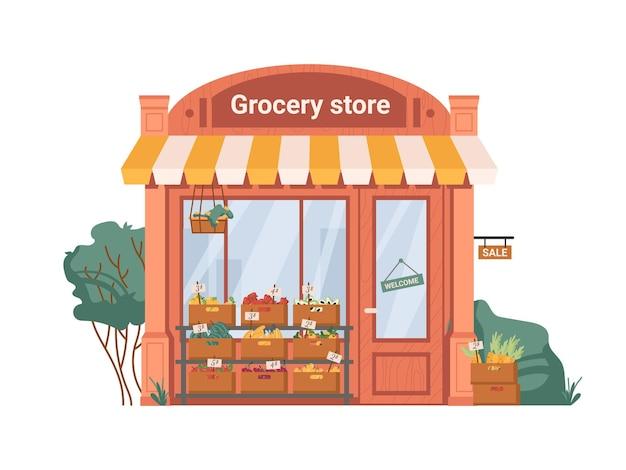 Фасад экстерьер продуктовый магазин фрукты овощи