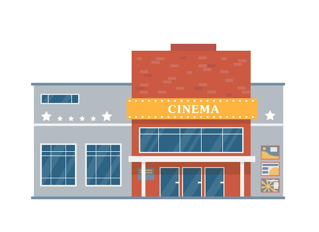 Facade of movie theatre building cinema house exterior