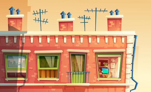 외관 다층 아파트, 집 외부, 건물의 지붕