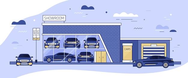 自動車のショールームまたは車両のローカル配布のファサードとその横に駐車された自動車。窓付きの自動車販売店の近代的な建物