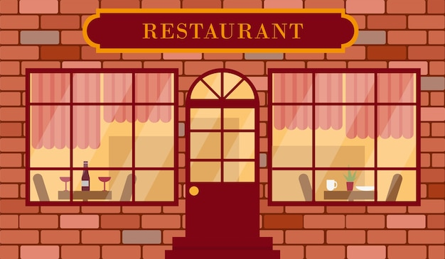 Фасад здания ресторана или подробная иллюстрация вектора внешнего вида ресторана.
