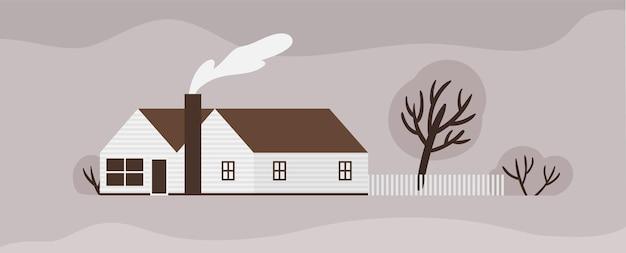 スカンディックスタイルのタウンハウスまたはコテージのファサード。柵のある木造スカンジナビアの建物。現代の郊外の住居または住居、農場、家庭または牧場。モノクロのベクトル図。
