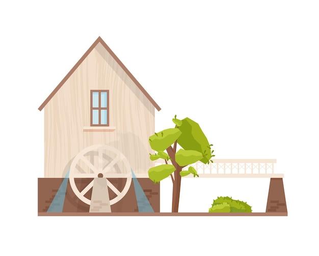 흰색 배경에 분리된 회전하는 바퀴가 있는 물레방아의 외관. 유럽의 물 공장. 농업 생산을 위한 농장 구조. 마을 건물. 평면 만화 스타일의 벡터 일러스트 레이 션.