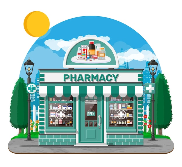 Facade pharmacy store with signboard