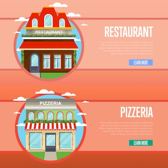 Facade of pizzeria and restaurant banner set
