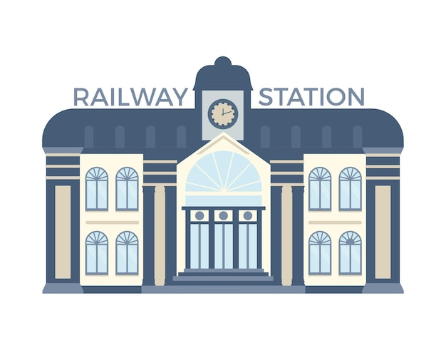 Facade of railway station building flat