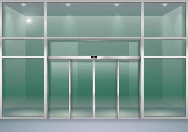 Facade with sliding doors