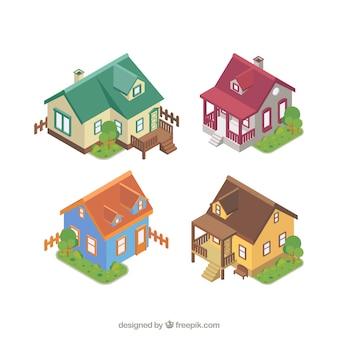 Facciate di case fissati in stile isometrico