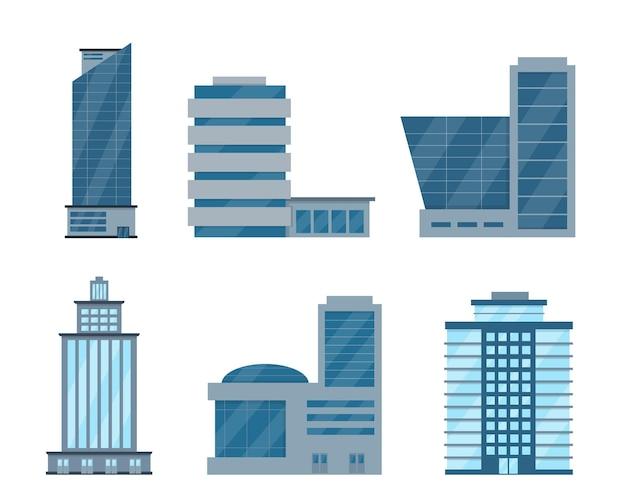 Facades of modern city buildings