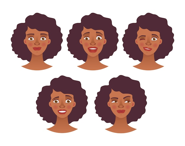 Face of african woman - set