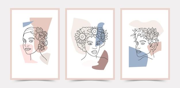 Коллекция шаблонов плакатов в стиле бохо для лица и цветов.