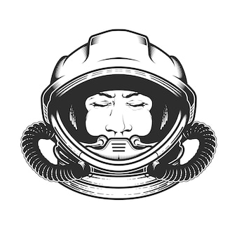 Face of astronaut in space helmet isolated on white