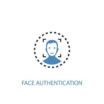 얼굴 인증 개념 2 컬러 아이콘입니다. 간단한 파란색 요소 그림입니다. 얼굴 인증 개념 기호 디자인입니다. 웹 및 모바일 ui/ux에 사용 가능