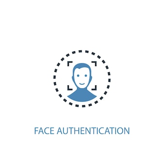 Face authentication concept 2 colored icon. simple blue element illustration. face authentication concept symbol design. can be used for web and mobile ui/ux