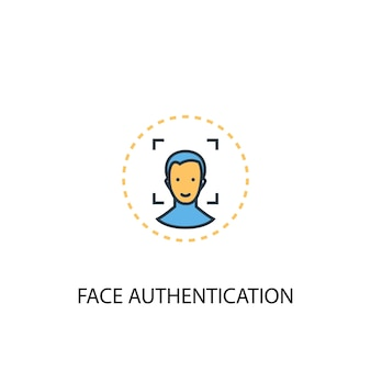 Face authentication concept 2 colored line icon. simple yellow and blue element illustration. face authentication concept outline symbol design