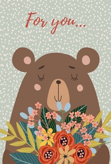 Face bear with bouquet of flowers