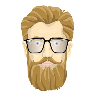 The face of a bearded man with glasses. portrait illustration, isolated on white background.