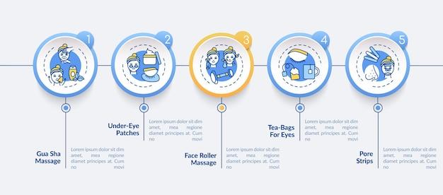 フェイスケア手順のインフォグラフィックテンプレート。グアシャ、ポアストリッププレゼンテーションデザイン要素。 5つのステップによるデータの視覚化。タイムラインチャートを処理します。線形アイコンのワークフローレイアウト