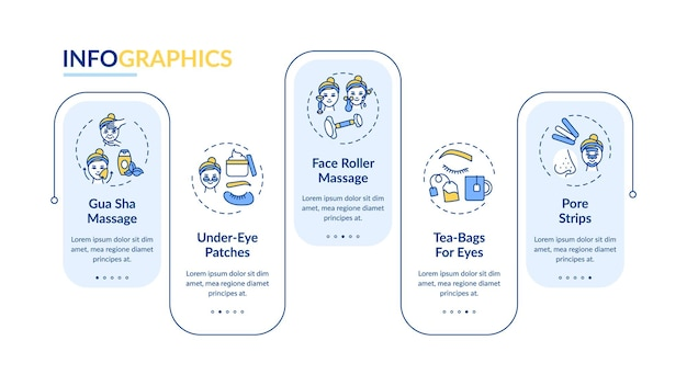 フェイスケア手順のインフォグラフィックテンプレート。ローラーマッサージ、ティーバッグのプレゼンテーションデザイン要素。ステップによるデータの視覚化。タイムラインチャートを処理します。線形アイコンのワークフローレイアウト