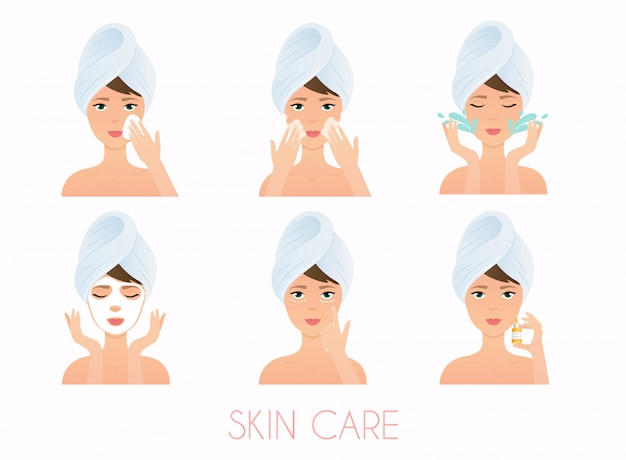 Face care routine. girl cleaning and care her face with various actions set.  skincare .