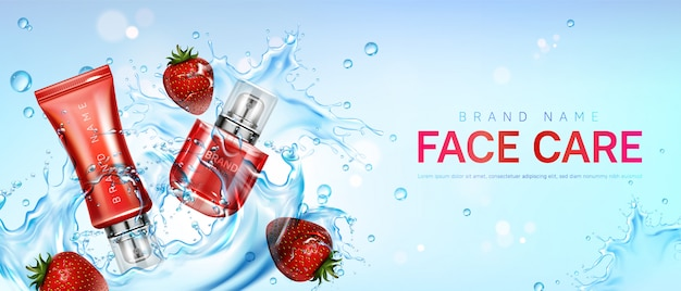 Face care with strawberries in water splash